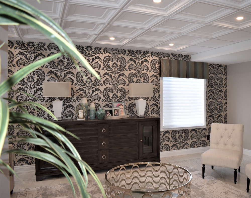 living room with black & gold damask pattern wallpaper, custom sofa