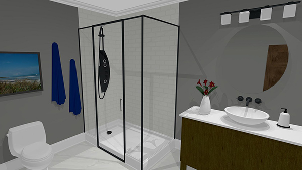 3D design render bathroom modern interior