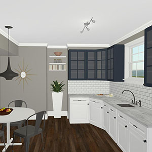 3d design kitchen concept rendering